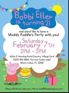 Bobbi Elle Turns Two with a Peppa Pig Party! Peppa Pig themed birthday invite