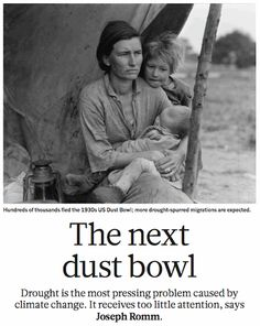 Fascinating/terrifying article about desertification (the bad kind), food insecurity, and the future of the human animal.  from Nature magazine http://thinkprogress.org/climate/2011/10/26/353997/nature-dust-bowlification-food-insecurity/