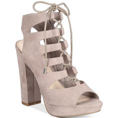 Bar Iii Nelly Lace-Up Block-Heel Platform Sandals, ($100) ❤ liked on Polyvore featuring shoes, sandals, taupe, lace up shoes, strappy lace up sandals, lace up sandals, taupe sandals and party sandals
