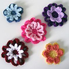 "Double Layer Flower Appliques  PDF Crochet Pattern  Instant ~ pretty! ~ size range from 2.75"" to 3.5"" in diameter ~ CROCHET"