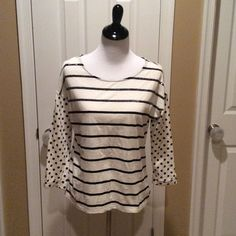 Black and White Top Sequin top stripes , black and white, with polka dot stripes Style & Co Tops
