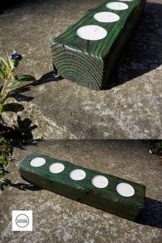 """Wundervoller Teelichthalter aus massivem Fichtenholz. Zur Herstellung wurde eine alte japanische Technik namens """"Shou Sugi Ban"""" verwendet, bei der das Holz zuerst stark verbrannt, dann aufwendig gereinigt und schließlich eingefärbt wird. Stark, Outdoor Decor, Home Decor, Burnt Wood, Candle Holders, Dragons, Schmuck, Dekoration"""