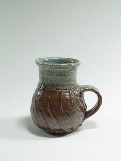 Warren Tippett, fluted salt glazed mug from a 12 piece coffee set, Auckland New Zealand. Collection of Auckland Museum, Auckland New Zealand, Pottery Marks, Coffee Set, Flute, Salt, Museum, Ceramics, Mugs, Studio