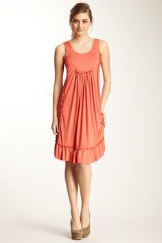 Sleeveless Ruffle Trim Dress. Long enough for meeting!!