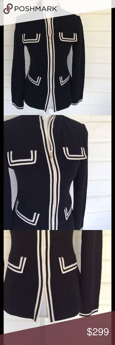 St John Caviar Black and White Knit Jacket Classic and gorgeously tailored. I adore St John for the effortless styling and beautiful lines. Such a high quality garment with impeccable detailing. Caviar black, zip clousure, four pocket design. No signs of wear, damage or flaws. Gently used condition.   Offers always warmly received. St John Jackets & Coats Blazers