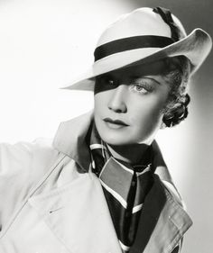 Miriam Hopkins in Hat & Trenchcoat. http://pickurselfup.tumblr.com/image/29210559902