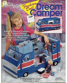 Fashion Doll Dream Camper and Fashion Doll Camper Accessories Two Plastic Canvas Books. $35.00, via Etsy.