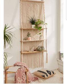 Urban Outfitters Macrame hanging shelf ❤ #urbanoutfitters @urbanoutfitters #macrame #hangingshelf #indoorplants #boho #interiordesign #art #moderngypsy #bohostyle