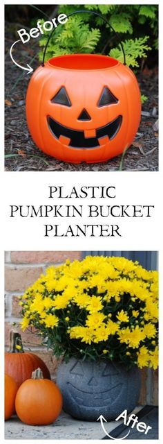 Turn a $1 plastic pumpkin bucket into an awesome stone-look planter with just some specialty spray paint!