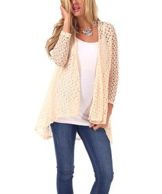 This Cream Sheer Crocheted Maternity Open Cardigan - Women by PinkBlush Maternity is perfect! #zulilyfinds