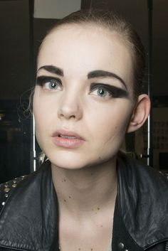 Krizia: It was all about bold brows and graphic eyeliner at Krizia's Fall 2013 show.