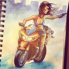 La Ciudad - Odesza https://m.youtube.com/watch?v=5IstSFhlc4w #odesza #goodvibes #citynights #outlaw #bikes #motocycles #girl #guns #ontherun #watercolor #characters #sketching #inking #drawing #takearidewithme