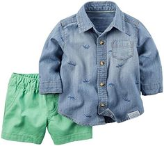 Carters_1 Boy Collection 2pc Chambray Green Short Denim 6 Months * Want to know more, click on the image.