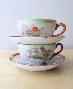 vintage porcelain teacups saucers hand painted japan by ionesAttic, $14.00