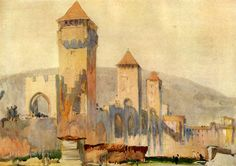 Psst! Get an extra 10% off the already low sale prices! Enter the coupon code SECRET10 at checkout now thru 1/15/17. Let's see who actually reads these descriptions!  FREE SHIPPING!  Watermark will not appear on your item.  Pont Valentre at Cahors in France: The Fortified Gates and Towers  By Frank Brangwyn. Antique, one-sided bookplate print was published c1915. Not a copy. Captioned in lower blank border. Please see both pictures. Vintage print on sturdy paper has a wide white bor...