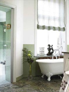 very pretty roman shade Window Coverings, Window Treatments, Drapery, Curtains, Clawfoot Bathtub, Roman Shades, Shutters, Blinds, House Design