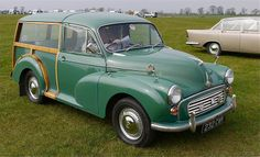 """Donald's """"antique Morris Traveller, dark green with a rear section framed in honey-coloured wood. Morris Traveller, Morris Minor, British Countryside, Secret Places, Automobile, Mystery, The Past, Novels, Landscape"""