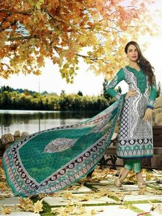 White and green printed long suit with embellished neckline White and green cotton printed long Comes with matching bottom and Can be stitched upto bust size 42 inches Pakistani Salwar Kameez, Pakistani Suits, Indian Dresses, Indian Outfits, Ethnic Fashion, Indian Fashion, Suits For Women, Clothes For Women, Indian Clothes Online