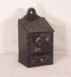 Continental carved oak pipe box c.1800. Original surface, rich original patina.