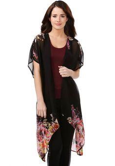 c1215c691b30d1 Floral Border Kimono Cardi-Plus Misses Tops Cato Fashions Floral Border