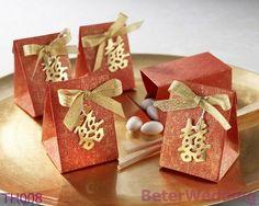 結婚式の装飾として使用される結婚式の好意箱の卸売の倍の幸福の結婚式の好意袋TH008