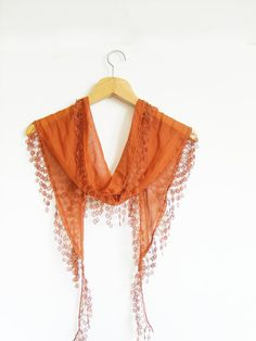 Cotton Scarf with Lace Lightweight  Sleek by AnatolianAccessories, $11.50