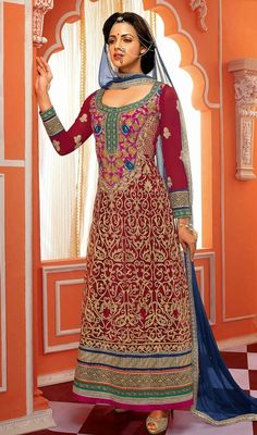 Revive your ethnic style dressed in this unique crimson embroidered georgette long churidar suit. This wonderful attire is showing some unbelievable embroidery done with jaal, lace, resham and stones work. #PartyWearCollection