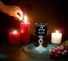 Judaica Art Havdala set Kiddush Crystal Wine by ShiranLaviShohat