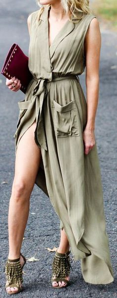 Olive Split Wrap Maxi & Those Shoes ❤︎ #street #fashion