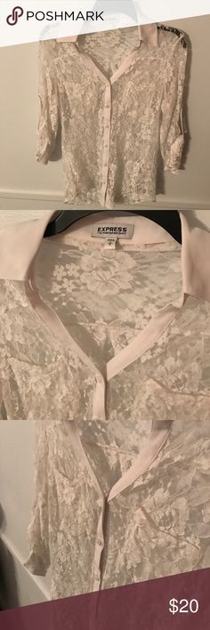 Express white lace portofino shirt Worn a few times express button down portofino with convertible sleeves. Very sheer white floral lace design Express Tops Blouses
