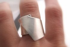 Wide Band  Silver Ring, Sterling Silver Wide Band modern ring by zizouart. Explore more products on http://zizouart.etsy.com