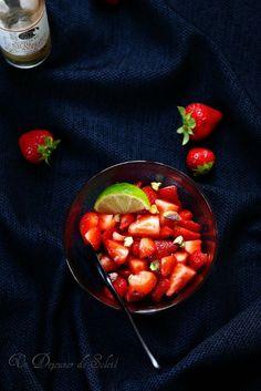Salade de fraises, citron vert et fleur d'oranger
