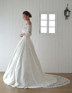 weddingdress ウェディングドレス Aラインドレス サテン レース袖付き オフショルダー オーダードレス専門店BlessDress ☎06-6147-2787 nfl-order-a038