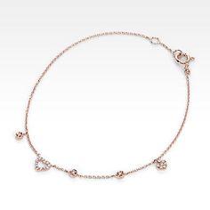 mini diamond heart bracelet 14kt rose gold