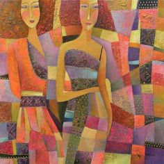 Violet Friendship (Painting), 60x60 cm by Olga Kost Oil & acrylic on canvas
