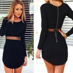 Sexy Women Lady Bodycon Long sleeve Slim Cocktail Party Short Mini Black Dress C #UnbrandedGeneric #SexyCasual