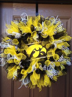 Iowa Hawkeyes large Deco Mesh Wreath on Etsy