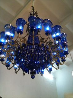 Cobalt Blue Chandelier is so pretty. Blue Chandelier, Chandelier Lighting, Cheap Chandelier, Crystal Chandeliers, Antique Chandelier, Cobalt Glass, Cobalt Blue, Love Blue, Blue And White