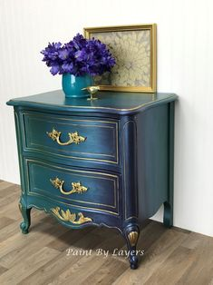 SOLD  SOLD    Nightstand Side Table image 0 Funky Furniture, Refurbished Furniture, Paint Furniture, Furniture Makeover, Vintage Furniture, Turquoise Painted Furniture, Vintage Sideboard, Colorful Furniture, Accent Furniture