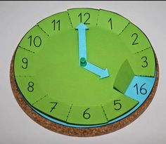 : Handcrafted clock with flaps, math, time, tinker - schule - Learning Activities, Kids Learning, Activities For Kids, Babysitting Activities, Indoor Activities, Teaching Time, Teaching Math, Maths, Math For Kids