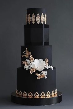 Black wedding cakes cakes black and white wedding cakes elegant to . Black And White Wedding Cake, Black Wedding Cakes, Elegant Wedding Cakes, Elegant Cakes, Beautiful Wedding Cakes, Wedding Cake Designs, Beautiful Cakes, Gold Wedding, Chic Wedding