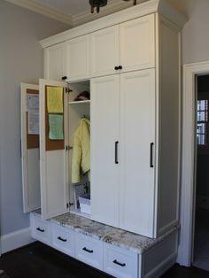 Mudroom Lockers. Love the corkboards inside the doors!