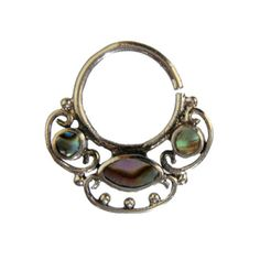 16G-1-2mm-ornate-brass-SEPTUM-RING-ABALONE-SHELL-STONE-nose-silver-hoop-hang-42