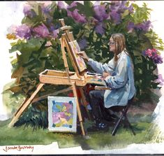 James Gurney of Veronica Grisaille, Make A Person, What You Think, Gouache, Thinking Of You, Scene, Watercolor, Veronica, Painters