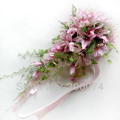 "11"" Cascading Lily Bouquets, 40"" long Waterfall Flower bouquet with ribbon, for wedding or anniversary, pink, purple"