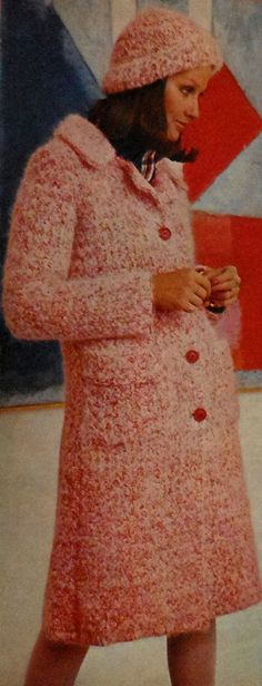Vintage Tweeded Coat & Cap Set Crochet Pattern