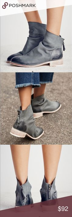 """Free People JOHN FLUEVOG Viceroy Ankle boots Beautifully crafted ankle boots featuring a so soft leather fabrication with subtly distressed toe and heel detailing. Contrast accented stacked heel and exposed back zip for an easy on/off.  Leather Import Heel: 1.5"""" = 3.81 cm Free People Shoes Ankle Boots & Booties"""