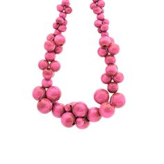 Items similar to Wooden statement necklace MoleCOOLs Pink on Etsy Wooden Bead Necklaces, Wooden Jewelry, Wooden Beads, Beaded Jewelry, Jewelry Necklaces, Jewellery, Beaded Statement Necklace, Cluster Necklace, Pearls