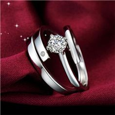 Simple 925 Sterling Silver Adjustable Him and Her Couple Rings