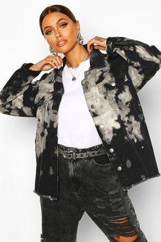 May 2020 - Womens Tie Dye Oversize jean jacket - black - Tye Dye Jeans, Tie Dye Jackets, Tie Dye Fashion, Emo Fashion, Bleach Tie Dye, Bleached Denim, Oversized Denim Jacket, Custom Clothes, Plastic Raincoat